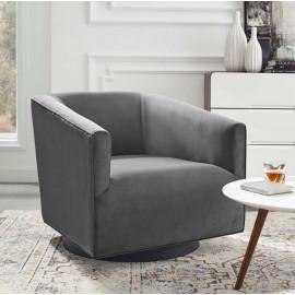 Grey Velvet Clean Line Swivel Lounge Chair