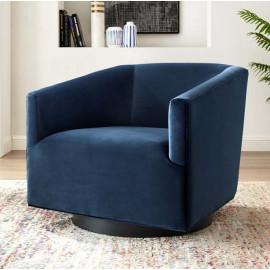 Dark Blue Velvet Clean Line Swivel Lounge Chair