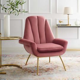 Blush Dusty Rose Velvet Modern Accent Arm Chair