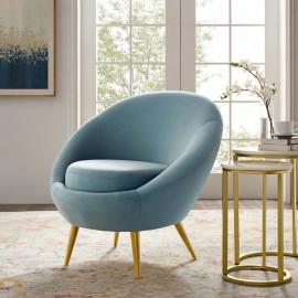 Llight Blue Velvet Round Shape Gold Legs Accent Chair