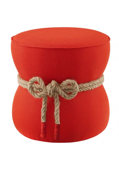 Bright Orange Red Fabric Rope Center Cinched Footstool Ottoman