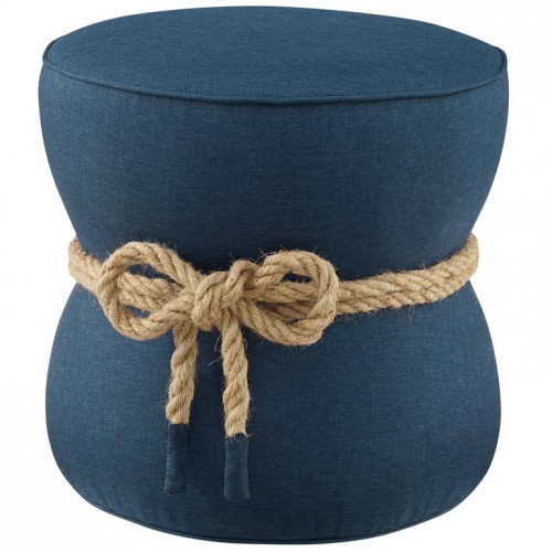 Blue Fabric Rope Center Cinched Footstool Ottoman