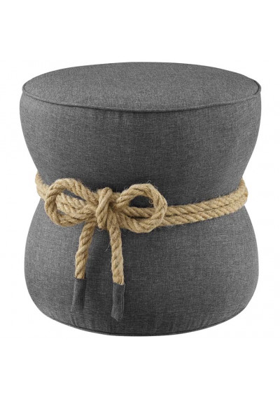Grey Fabric Rope Center Cinched Footstool Ottoman