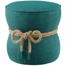 Green Teal Fabric Rope Center Cinched Footstool Ottoman