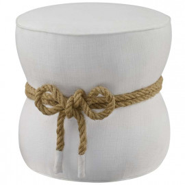 White Fabric Rope Center Cinched Footstool Ottoman