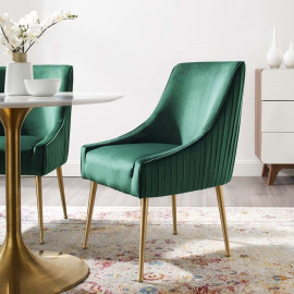 Forest Green Velvet Pleated Back Dining Accent Chair