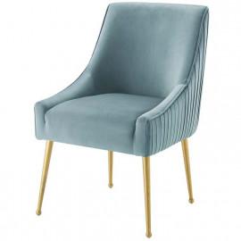 Light Blue Velvet Pleated Back Dining Accent Chair