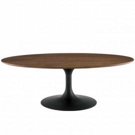 Dark Walnut Oval Top Black Base Mid Century Modern Coffee Table