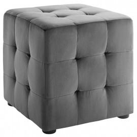 Grey Velvet Tufted Cube Footstool Ottoman
