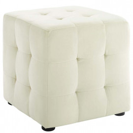 Ivory Velvet Tufted Cube Footstool Ottoman