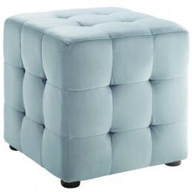 Pale Blue Velvet Tufted Cube Footstool Ottoman