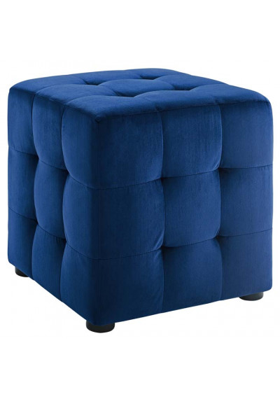 Blue Velvet Tufted Cube Footstool Ottoman