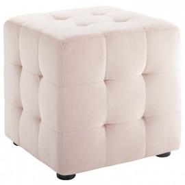 Light Pink Velvet Tufted Cube Footstool Ottoman