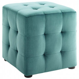 Teal Green Velvet Tufted Cube Footstool Ottoman