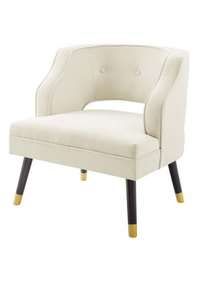 Ivory Velvet Tufting & Piping Open Back Accent Chair