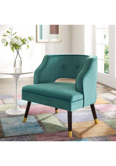 Teal Green Velvet Tufting & Piping Open Back Accent Chair