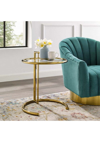Gold Metal Modern Design Adjustable Height Glass Top Side Accent Table