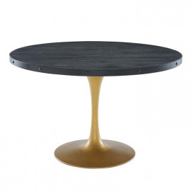 Black Round Wood Top Gold Base Industrial Modern Dining Table 3 Sizes