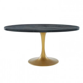 Black Oval Wood Top Gold Base Industrial Modern Dining Table 3 Sizes