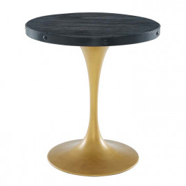 Black Round Wood Top Gold Base Industrial Modern Dining Bistro Table