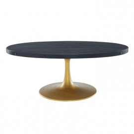 Black Oval Wood Top Gold Base Industrial Modern Coffee Table