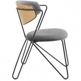 Grey Velvet Black Bent Paperclip Body Accent Dining Chair