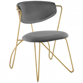 Grey Velvet Gold Bent Paperclip Body Accent Dining Chair