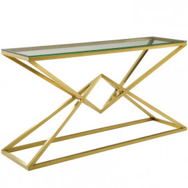 Brushed Gold Geometric Point Glass Top Console Table