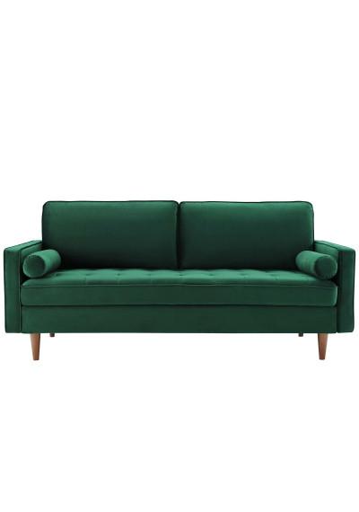 Green Velvet Mid Century Modern Accent Sofa