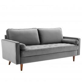 GrEy Velvet Mid Century Modern Accent Sofa
