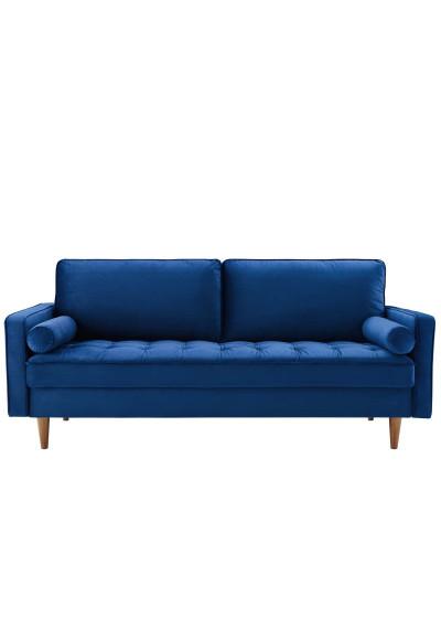 Navy Blue Velvet Mid Century Modern Accent Sofa
