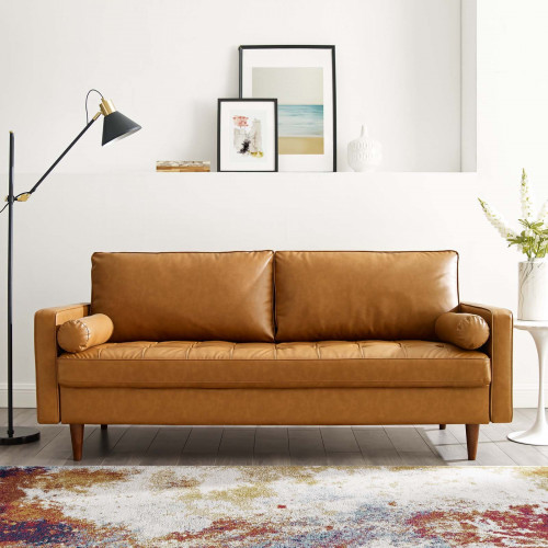 Carmel Color Luxe Modern Faux Leather Accent Sofa