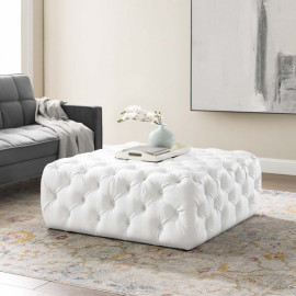 White Faux Leather Totally Tufted Square Ottoman Coffee Table