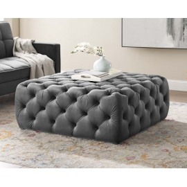 Silver Grey Velvet Totally Tufted Square Ottoman Coffee Table