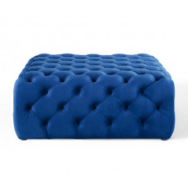 Blue Velvet Totally Tufted Square Ottoman Coffee Table