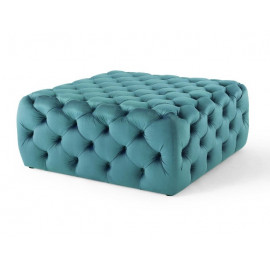 Teal Green Velvet Totally Tufted Square Ottoman Coffee Table