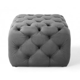 Silver Grey Velvet Totally Tufted Square Ottoman Footstool