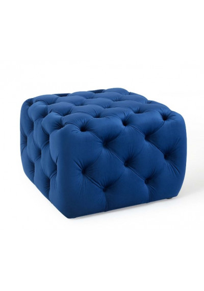 Blue Velvet Totally Tufted Square Ottoman Footstool