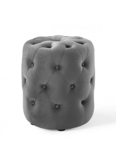 Silver Grey Velvet Totally Tufted Round Ottoman Footstool
