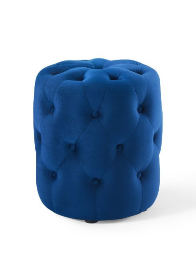 Blue Velvet Totally Tufted Round Ottoman Footstool