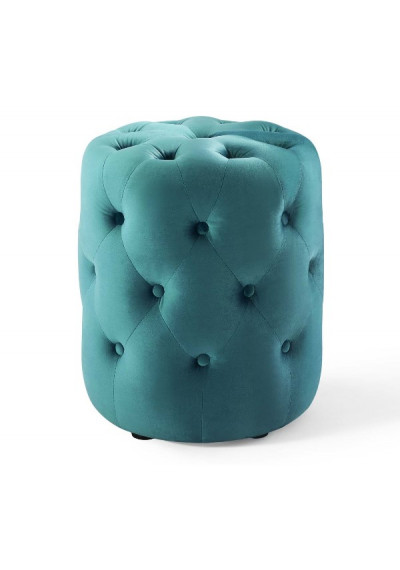Teal Green Velvet Totally Tufted Round Ottoman Footstool