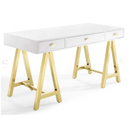 Glam High Gloss White Gold Metal Base Modern Desk