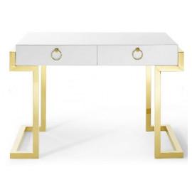 Glam High Gloss White Gold Metal Ring Modern Desk