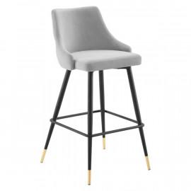 Light Grey Back Button Tufted Velvet Black Leg Counter or Bar Stool