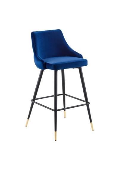 Blue Back Button Tufted Velvet Black Leg Counter or Bar Stool