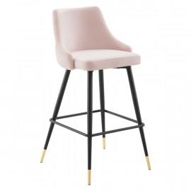 Blush Pink Back Button Tufted Velvet Black Leg Counter or Bar Stool