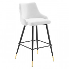 White Back Button Tufted Velvet Black Leg Counter or Bar Stool