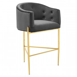 Charcoal Grey Button Tufted Velvet Gold 3 Leg Curved Counter or Bar Stool