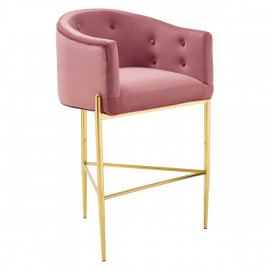 Dusty Rose Pink Button Tufted Velvet Gold 3 Leg Curved Counter or Bar Stool