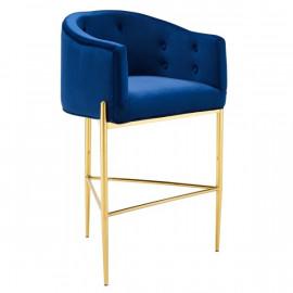 Blue Button Tufted Velvet Gold 3 Leg Curved Counter or Bar Stool